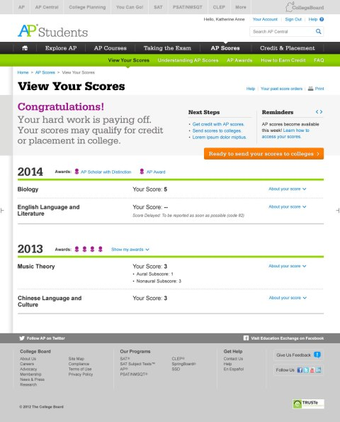 AP Online Score Report Website